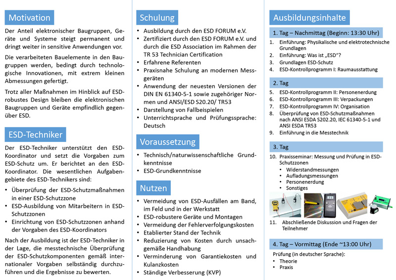 Ausbildung zum ESD-Techniker (extern) | Wolfgang Warmbier