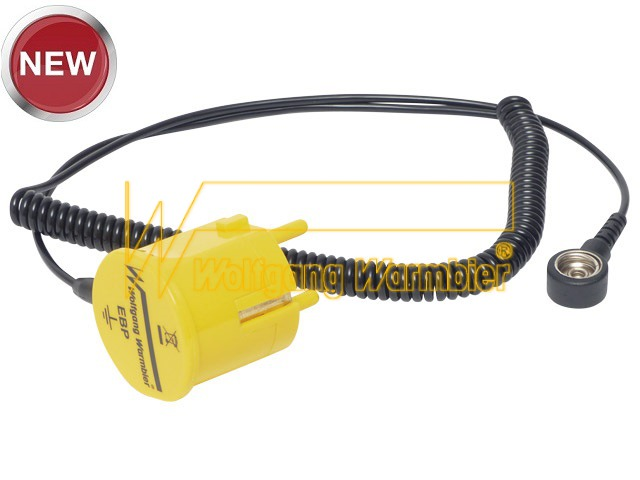 Grounding plug, yellow, 10mm 2,4 m cable and 1MOhm resistor
