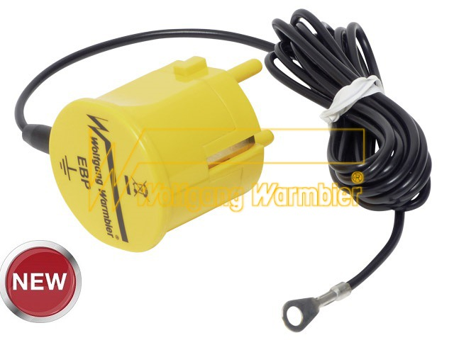 Grounding plug, 2 m coil cord, without resist.,4mm ring term.