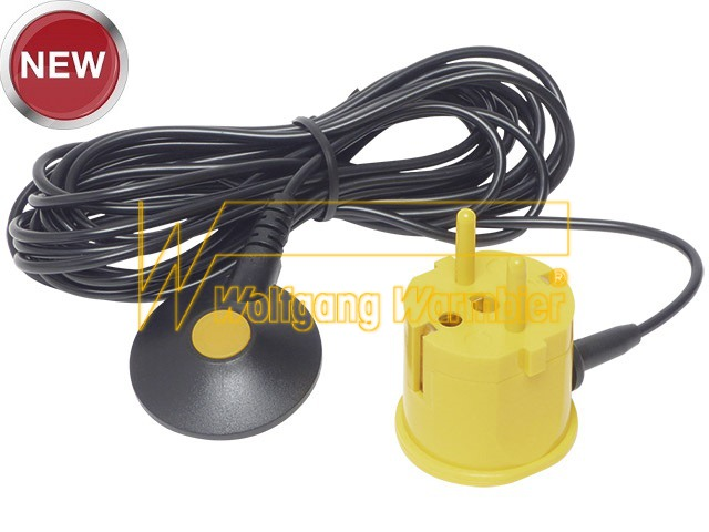 Grounding plug, yellow, 10 mm snap with cap, cord 4,5 m